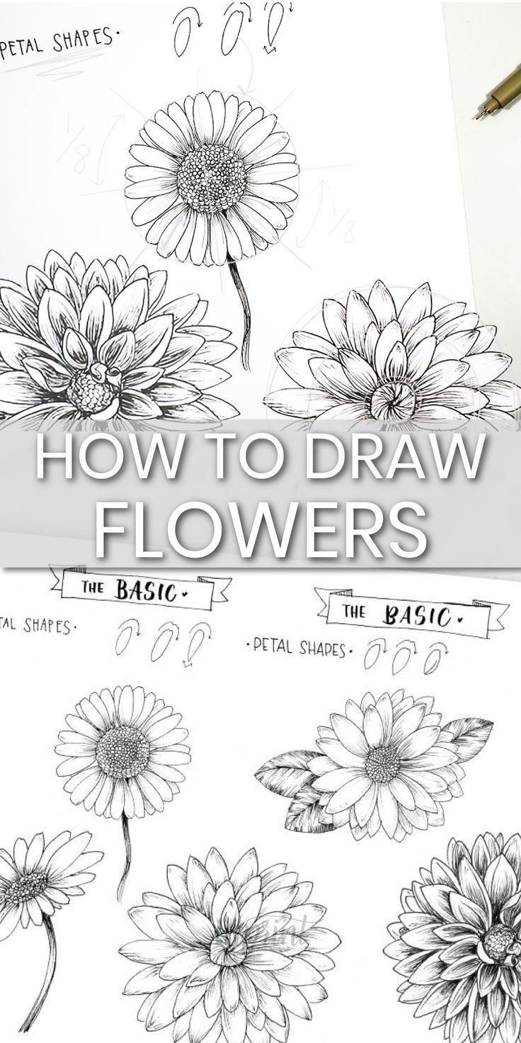So zeichnen Sie Blumen in einem einfachen Schritt für Schritt ...