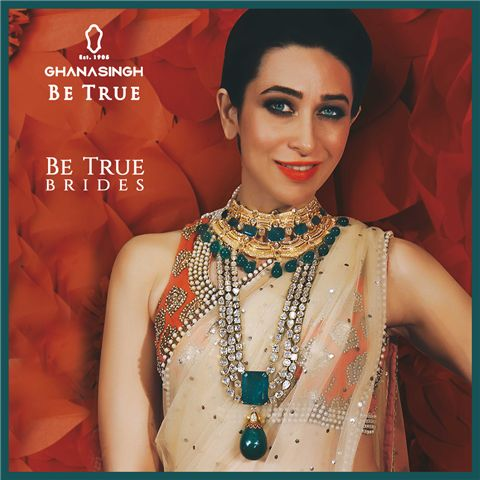 The Royal Bride: Modern #BeTrueBrides take on the trend of regal Gold neckpieces with chunky gemstones like the mesmeric Karisma Kapoor with Ghanasingh Be True!