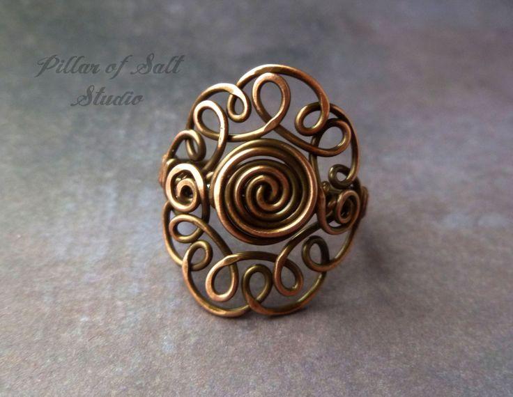 Wire wrapped ring boho jewelry earthy by PillarOfSaltStudio, $24.00