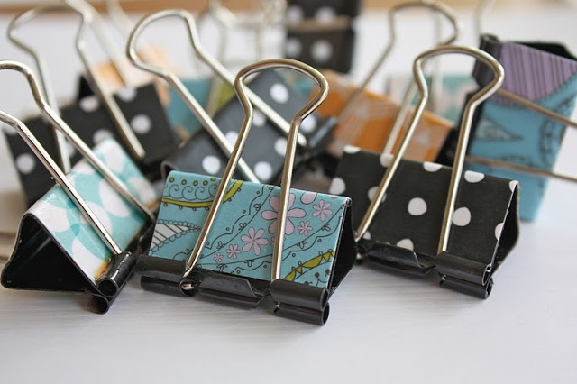 DIY Decorated Binder Clips -  can use scrapbooking paper as well or the new duct tape that is out. Such a wonderful idea.  Doing this one.
