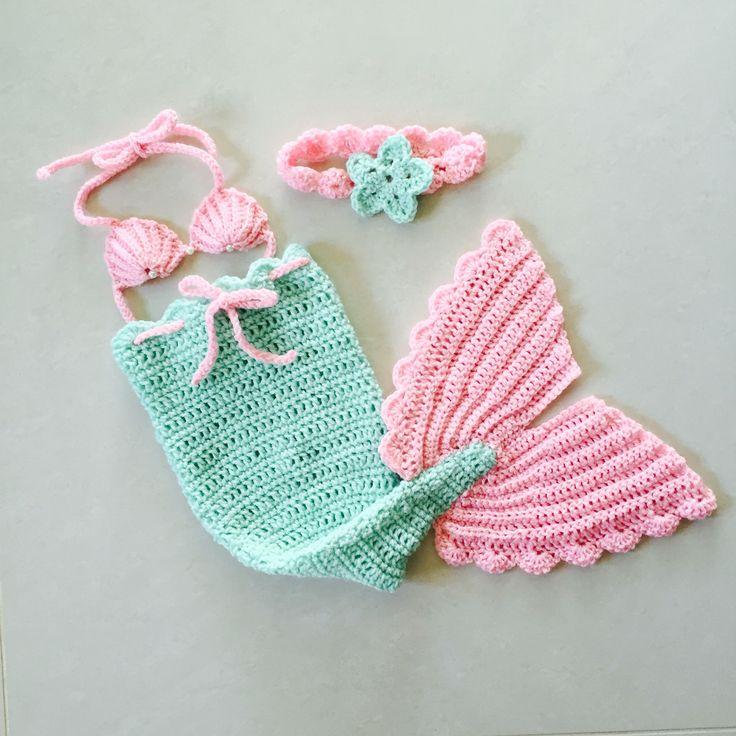 Crochet newborn mermaid costume