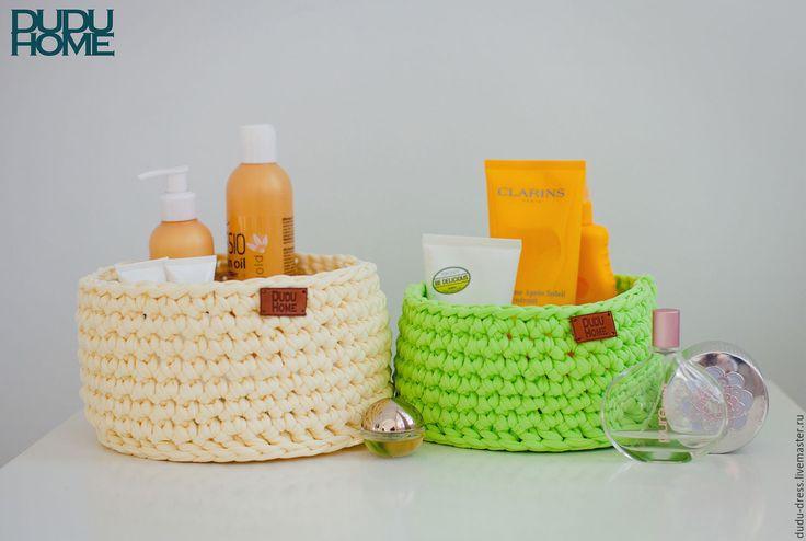 Купить Вязаные корзины для ванной комнаты - салатовый, ваниль, ванильный, салат, вязаные корзины