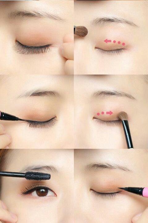 Pinkish brown eye make up