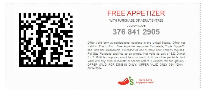 Free Appetizer Chilis coupons http://www.pinterest.com/TakeCouponss/chilis-coupons/