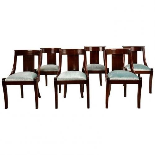 French Empire Style Mahogany Dining Chairs 1900s Set Of 6 For Sale At
