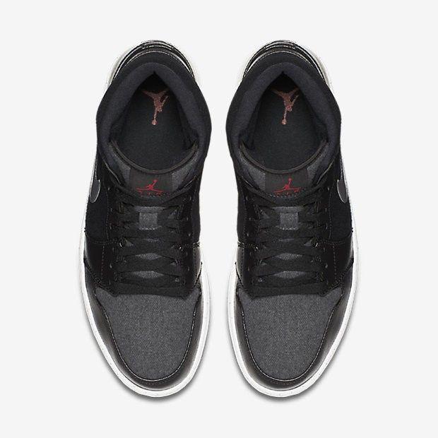 57fd296406bb0 Air Jordan 1 Mid Premium Mens Black Dark Grey White Gym Red Sale Outlet