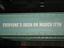 Sign on a beam in Dublin's Guinness Storehouse, a commercial museum promoting the drinking of Guinness stout on St Patrick's Day