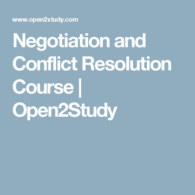Negotiation and Conflict Resolution Course | Open2Study