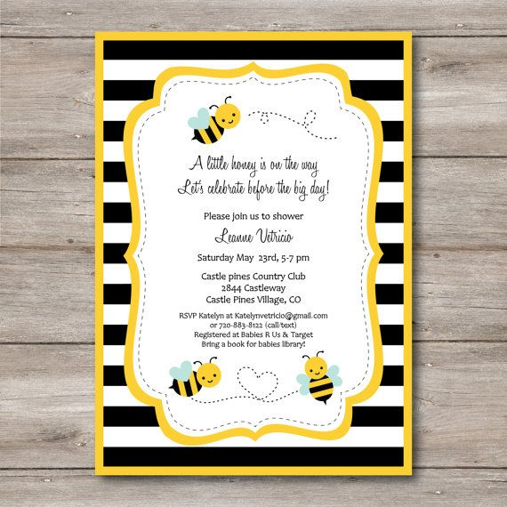 Bumble Bee Invitation with Editable Text to Print at Home DIY