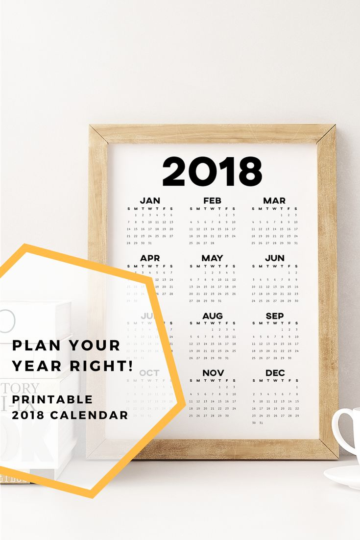 Grab a printable wall calendar for 2018 to get your year started right! Minimalist 2018 calendar in a clean design, brighten up your journal, desk or wall.