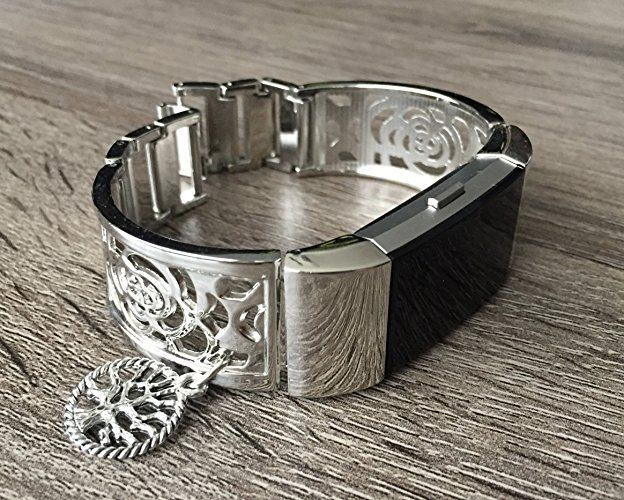 Silver Metal Band For Fitbit Charge 2 Fitness Tracker