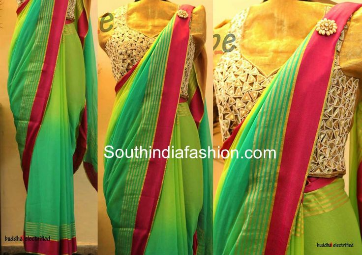 Green Georgette Saree with Mirror Work Blouse ~ Celebrity Sarees, Designer Sarees, Bridal Sarees, Latest Blouse Designs 2014