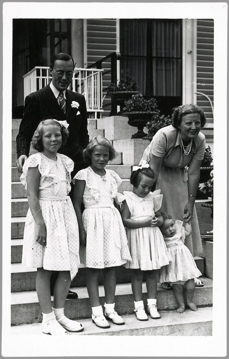 The Royal Family of the Netherlands-Prince Bernhard with then Princess Juliana and their daughters-Princesses Beatrix, Irene, Margriet and Christina