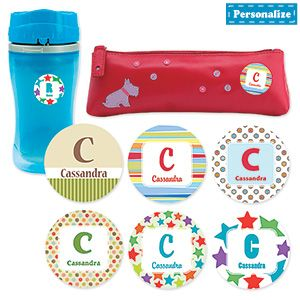 """Product # RGL507 - Brightly coloured stickers let kids make their mark on binders, books, toys and more! Personalization: Name, up to 10 characters. Monogram will be updated automatically with the first letter of the name provided. Made in Canada. 1-1/2""""Diam.  $6.98"""