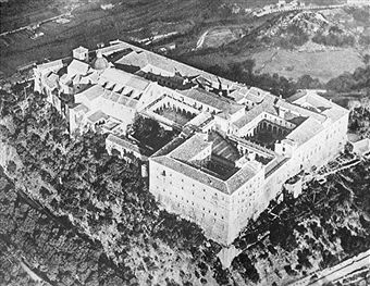 Aerial view of Monte Cassino monastery and the surrounding hills. The monastery was destroyed during World War II and subsequently rebuilt. Pin by Paolo Marzioli