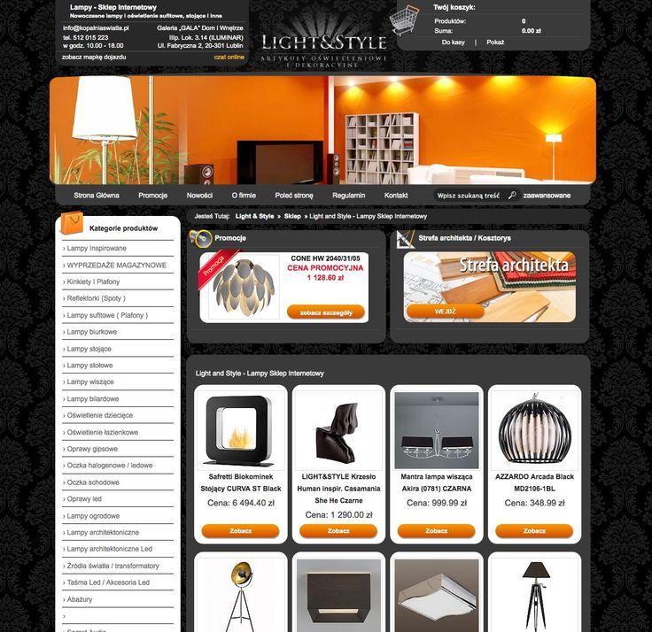 Jeden z najładniejszych naszych sklepów minionej dekady - www.kopalniaswiatla.pl - najlepsze oświetlenie w najlepszym wydaniu. Szata graficzna sklepu podkreśla charakter sprzedawanych w nim produktów. Są to niewątpliwie arcydzieła światowego wzornictwa, często na polską kieszeń.