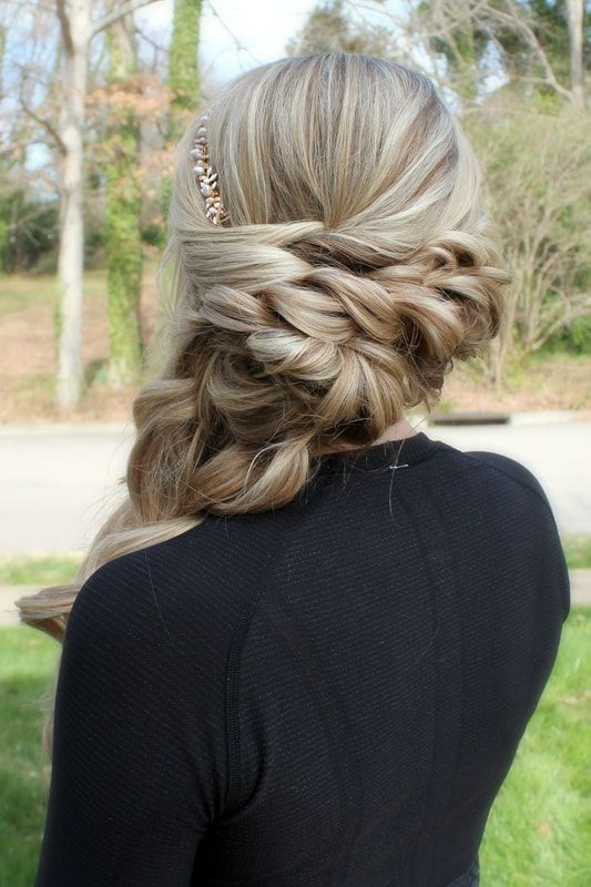 Formal hairstyle for fine to medium hair |  Fresh blonde bridal braided hairstyle with texture |  Romantic wedding hairstyles |  Bridal Hairstylist Ra...