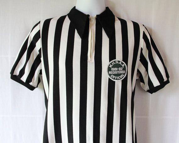 70s Referee Shirt / Stripes / Football / Black by PetticoatsPlus