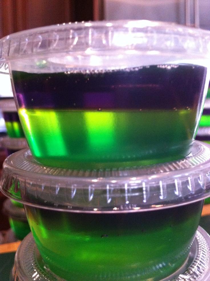 King cake Jell-O shot - Cake vodka, lemon, lime and grape jello in ...