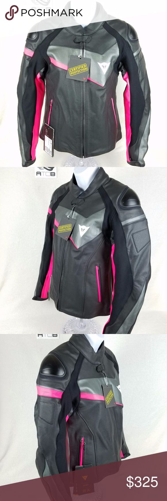 NEW Dainese Perforated Leather Motorcycle Jacket New Never Worn  Protection: -Composite protectors certified to EN 1621.1 Standard -Co-injected shoulder with aluminum insert -Suit certified to CE Category II - 89/686/EEC Directive -Pocket for Dainese G1 or G2 back protector  Ergonomics and Comfort: -Tutu cowhide leather -S1 fabric -Elasticated inserts -Inserts in elasticated fabric -Hip adjustment -TechFrame internal liner -Localized perforation -Air vents on back -Jacket to trousers…