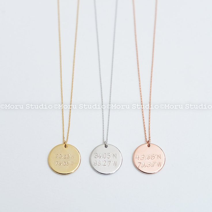Large Disc Coordinates Necklace/ Custom Latitude & Longitude Disc Tag, Personalized Necklace, Hand Stamped, Location Necklace Moru NCR112 by MoruStudio on Etsy