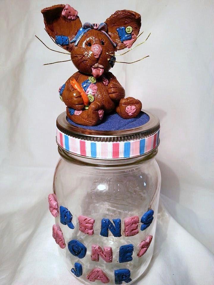hand sculpted polymer clay bunny rabbit money jar, home decor, home & living, money box, candy jar, clay bunny, handmade bunny, rabbit, jar by BloominClay on Etsy