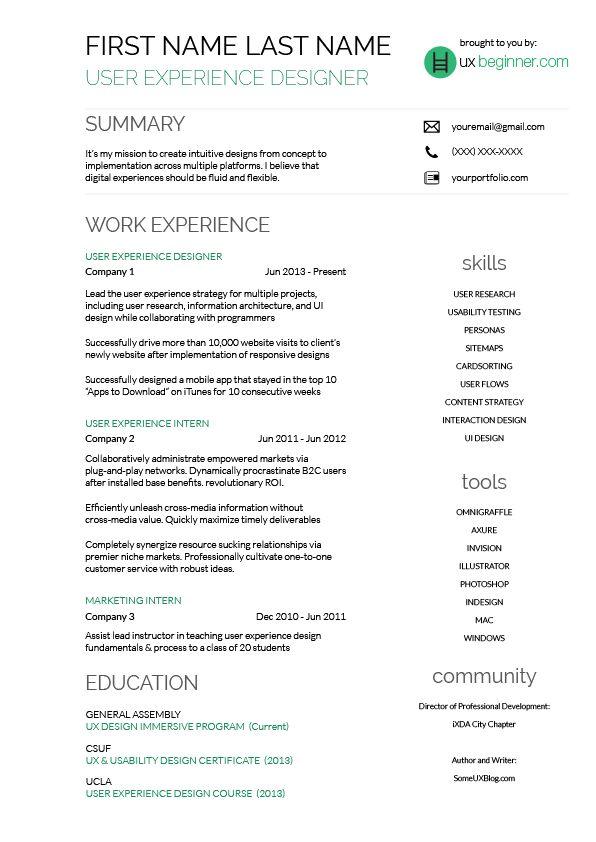 Více než 20 nejlepších nápadů na téma New resume format na Pinterestu - user experience designer resume