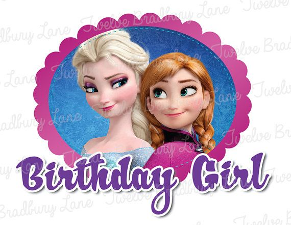 FROZEN BIRTHDAY GIRL Disney Iron On Transfer, Anna, Elsa, digital ...