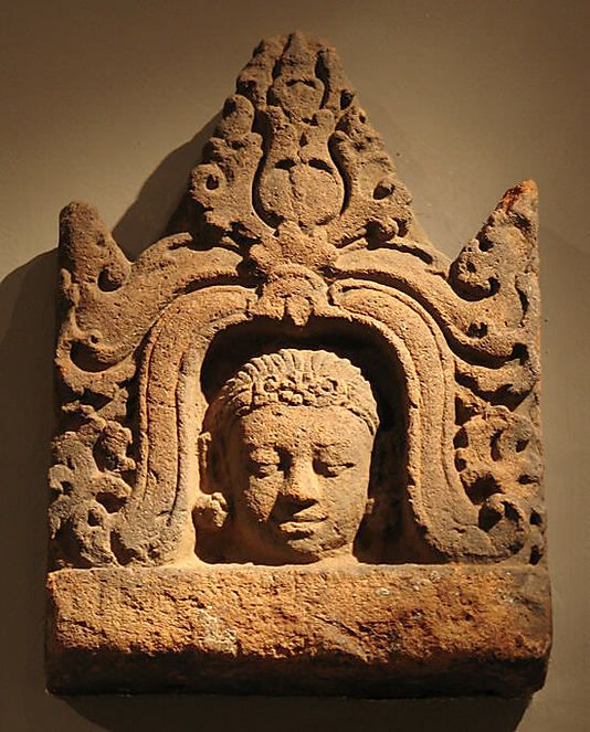 Antefix with Head of a Male Deity,  Central javanese period,9th century  Indonesia (Java) Terracotta.