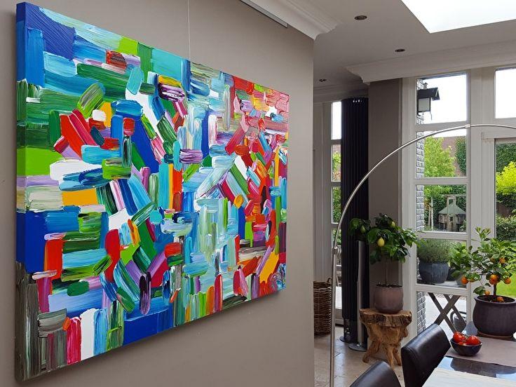 17 beste afbeeldingen over schilderijen abstract kleurrijk op pinterest studio 39 s rode zee - Taupe kleuren schilderij ...