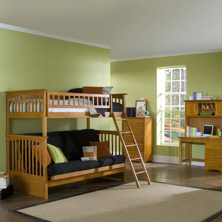 loft bed with stairs and room for futon underneath | Atlantic Columbia Twin over Futon Bunk Bed [AB55404]