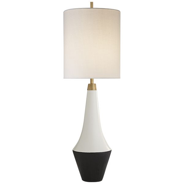 Shop for visual comfort ks kate spade new york modern neale table lamp in white leather and satin black with cream linen shade at foundry lighting