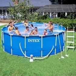 Piscine : Piscines : Piscine tubulaire métal ronde INTEX en kit avec filtration : Ø 3,66 m, h : 76 cm - 6500 litres.