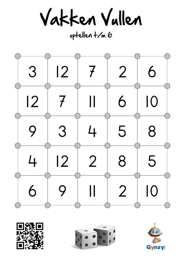 Optelvierkantjes: Gooi om de beurt de twee dobbelstenen. Tel de twee de twee getallen bij elkaar op. Zoek het vierkantje met de uitkomst van de som. Zet een streep met jouw kleur op één van de zijden van het vierkantje. Heb je de laatste streep van een vierkantje gekleurd, dan mag je het hele vierkant inkleuren met jouw kleur. (www.gynzy.com)