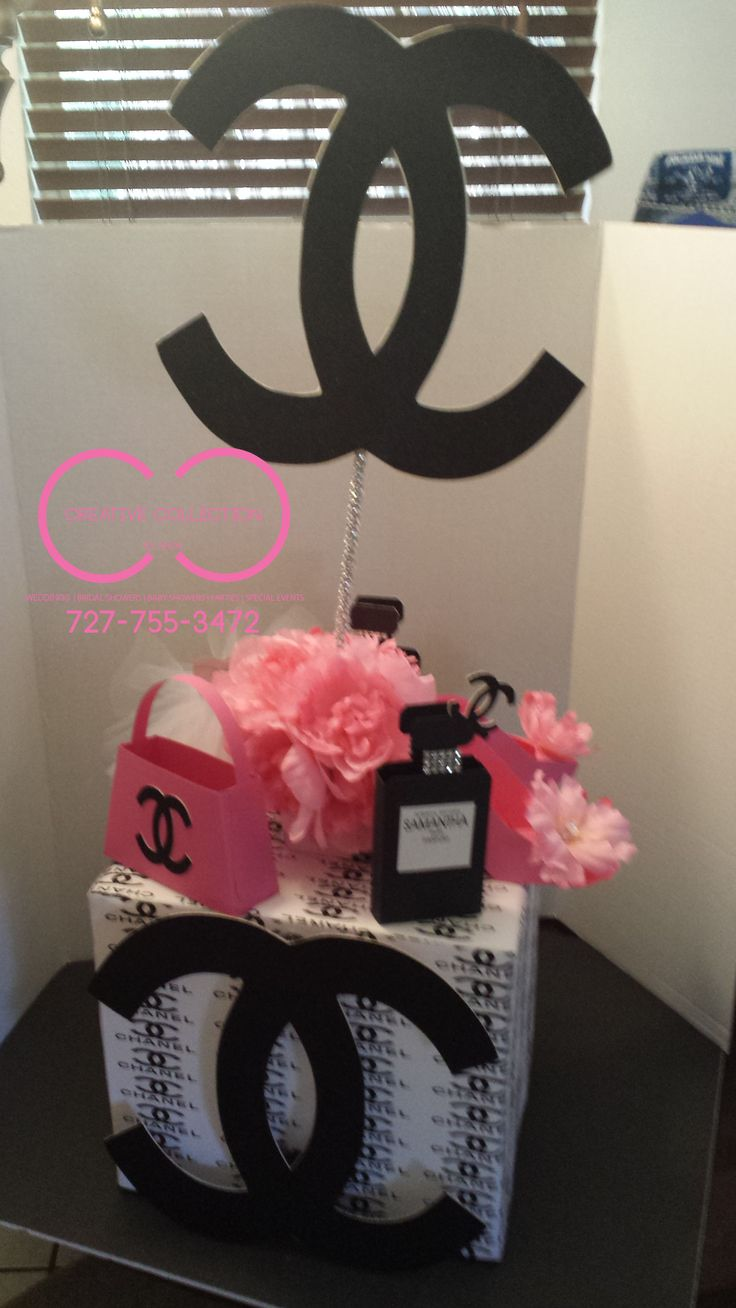 black and pink chanel Chanel inspired centerpiece please visit us at www.creativecollectionbyshon.com