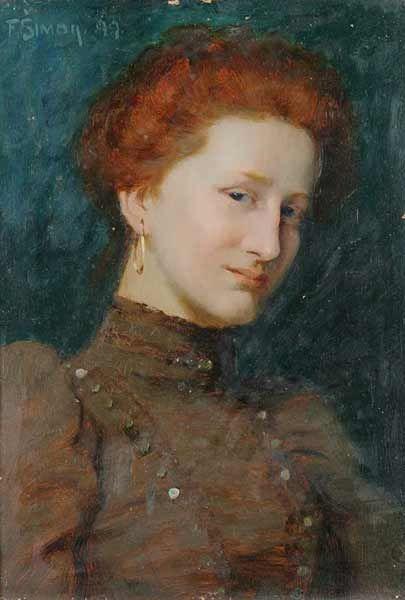 Portrait of a woman. Oil on cardboard. 32x23cm. Signed FSimon 1899. (Tavík František Šimon ):