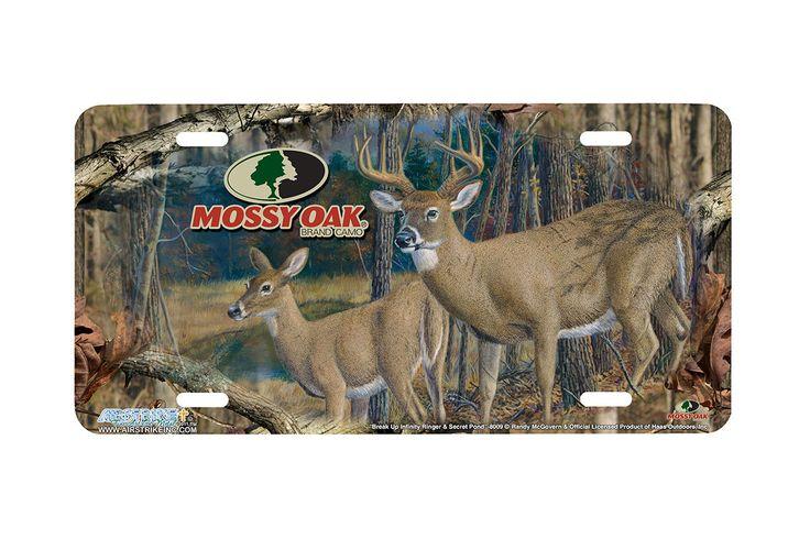 "Airstrike® Mossy Oak License Plate 8009-""Break Up Infinity Ringer and Secret Pond""-Mossy Oak Camo Deer License Plate"