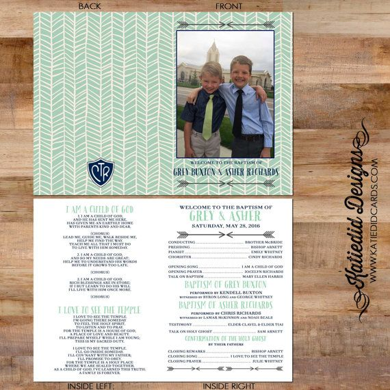 LDS baptism program conducting christening mormon herringbone double sided photo 8 great printable photo announcement item 714