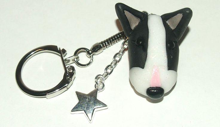 Black & white Bull Terrier key chain