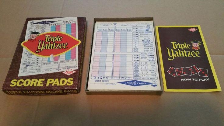Vintage Triple Yahtzee Score Pads Set 1972 E.S. Lowe Dice Board Game L@@K