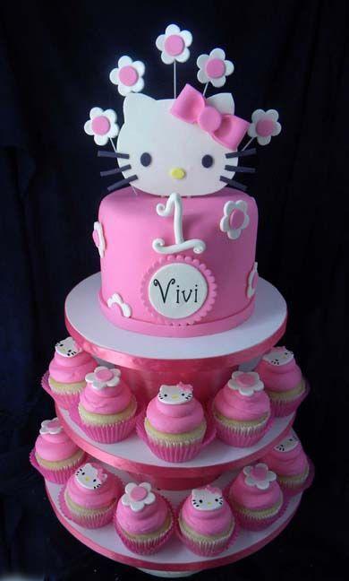 Hello Kitty Cake And Cupcake Tower cakepins.com