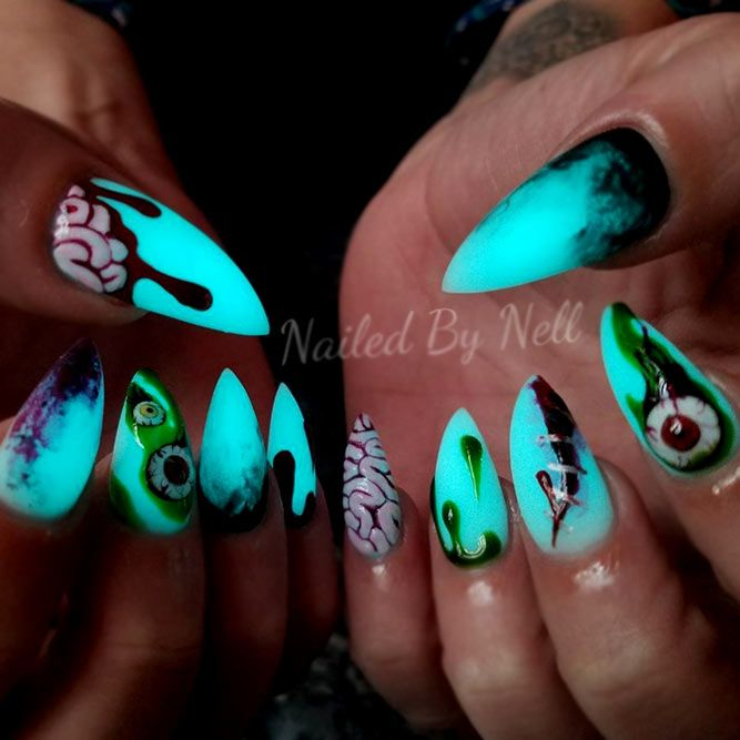 Fancy Glow In The Dark Nail Polish Looks Naildesignsjournal Dark Nails Trendy Nails Dark Nail Polish