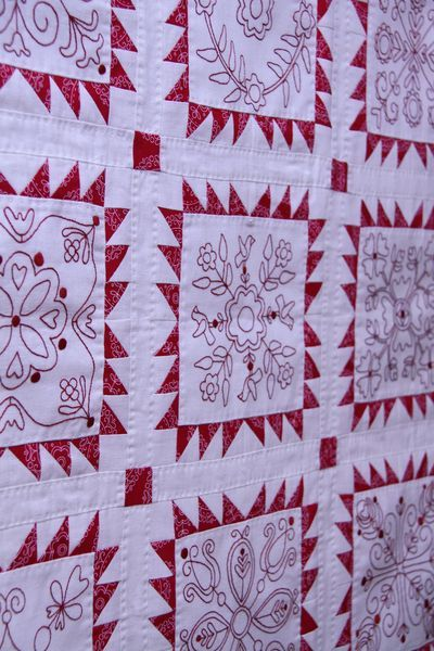 redwork embroidered quilt