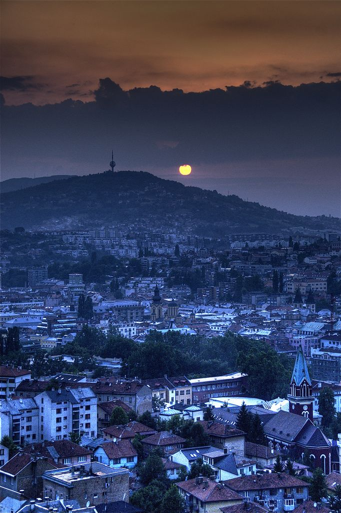 Sun setting over the city of Sarajevo in Bosnia. June 2008