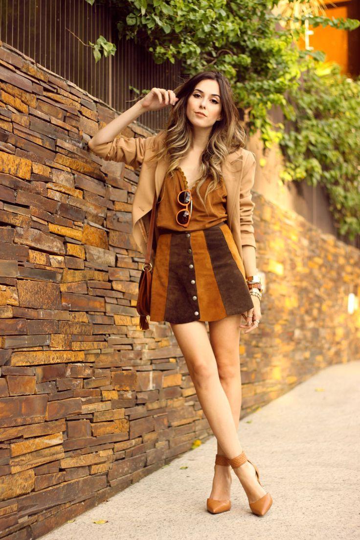 FashionCoolture - 10:03 look du jour Episode earth tones button front skirt camel outfit (7) waysify