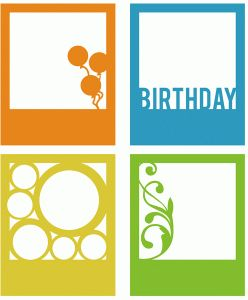 Silhouette Online Store - View Design #65549: birthday polaroid frame set of 4