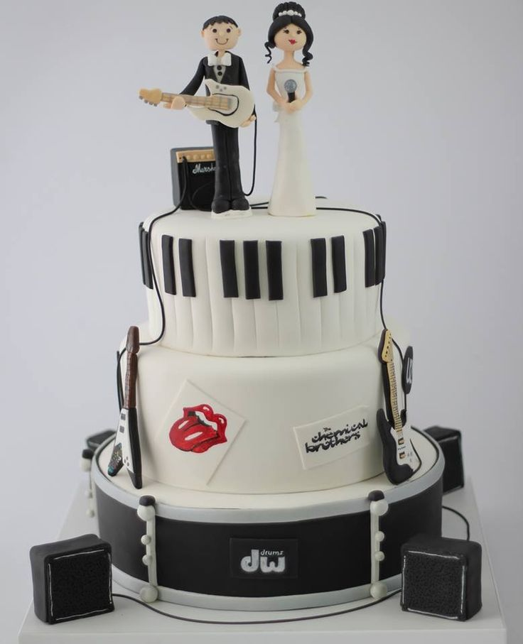 Musician wedding cake #music band cake toper