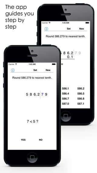 This math app can be used to teach and study the rounding of decimals. You can set your own problems or solve random problems. The decimal numbers can be rounded to nearest whole number, tenth, hundredth or thousandth. They can also be rounded to 0, 1, 2 or 3 decimal places.