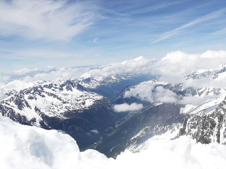 View of Chamonix city from 3840m - Aquille du Midi.