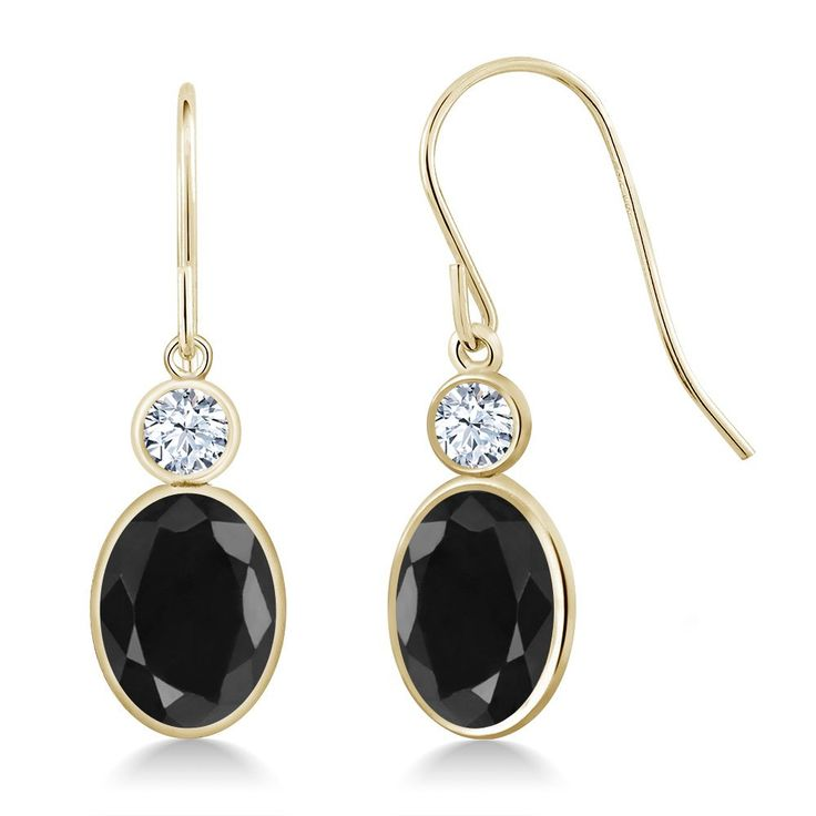 3.54 Ct Oval Black Sapphire 14K Yellow Gold Earrings. This item is proudly custom made in the USA. 100% Satisfaction Guaranteed. Gemstones may have been treated to improve their appearance or durability and may require special care.